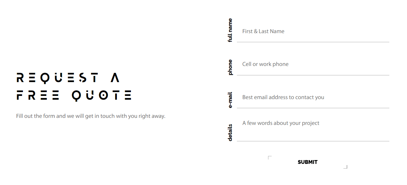 Contact form, example